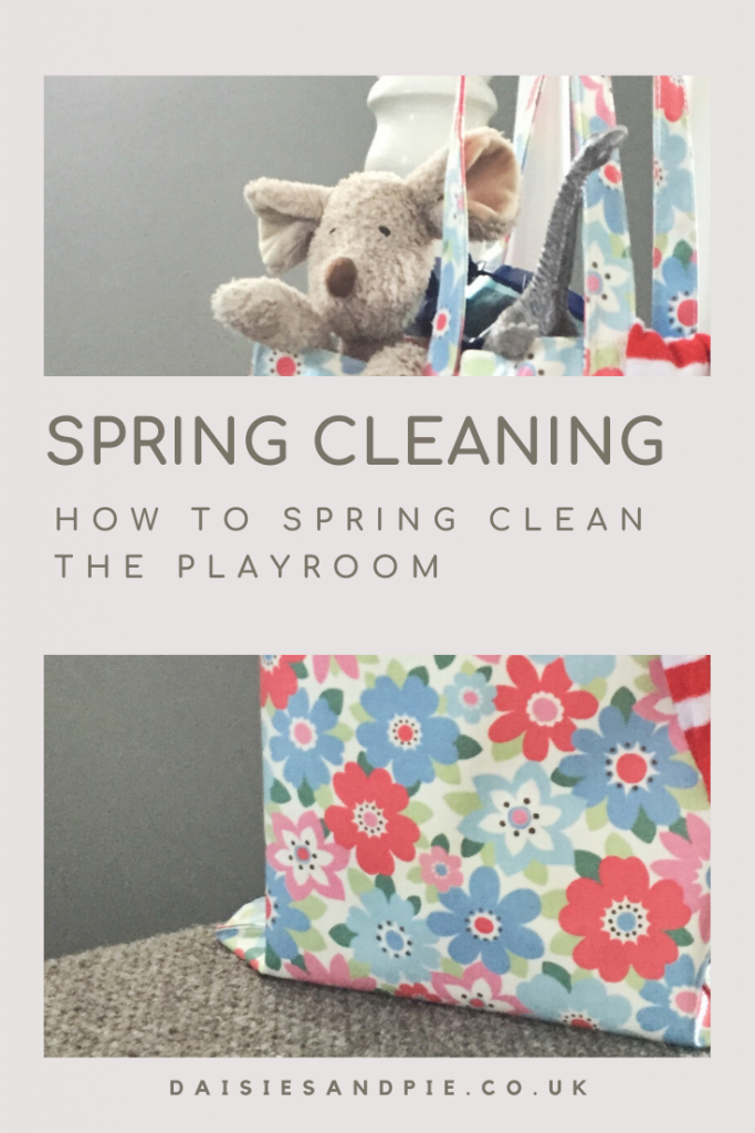 "cath kinston floral tote bag filled with teddy bears and toys. Text "" spring cleaning - how to spring clean the playroom"""