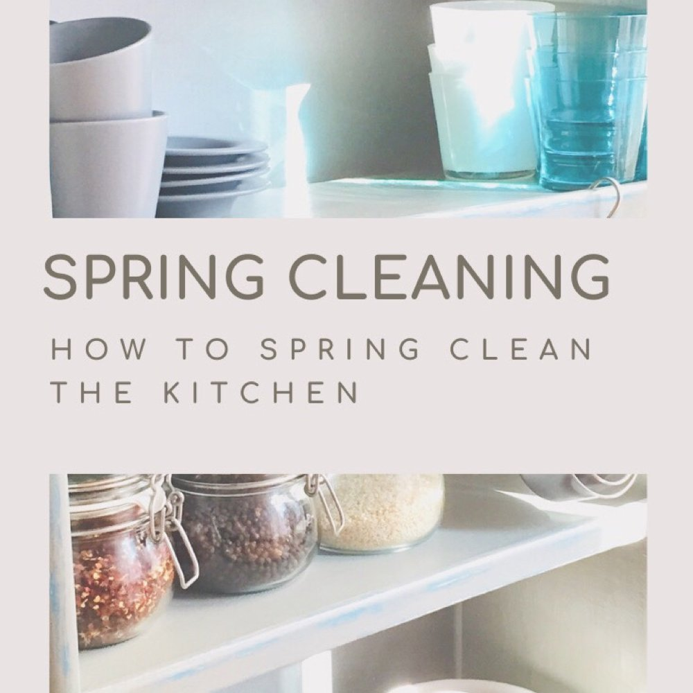 "pale grey painted wooden shelves with stacks of cups, saucers, glasses and jars of pulses. Text overlay ""spring cleaning - how to spring clean the kitchen"""
