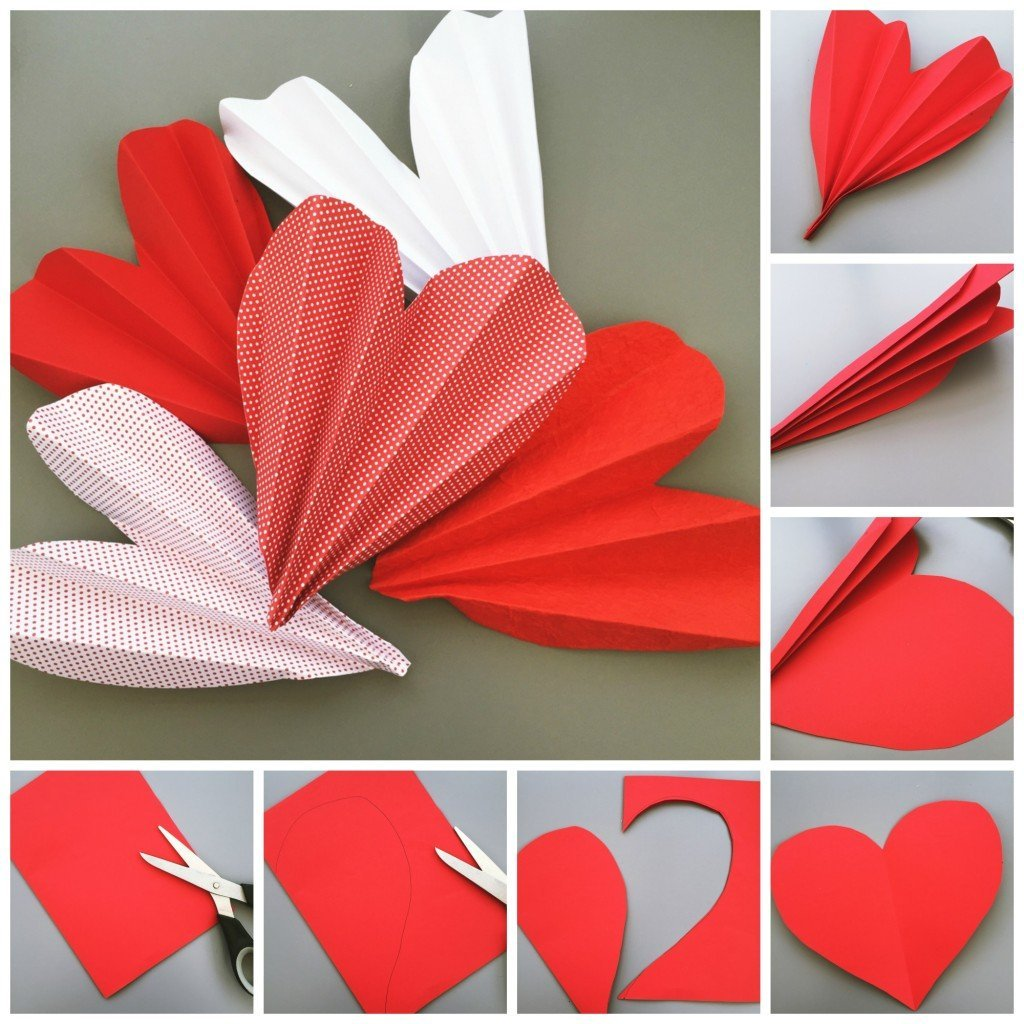 step by step tutorial in images for how to cut out and make love heart paper fans