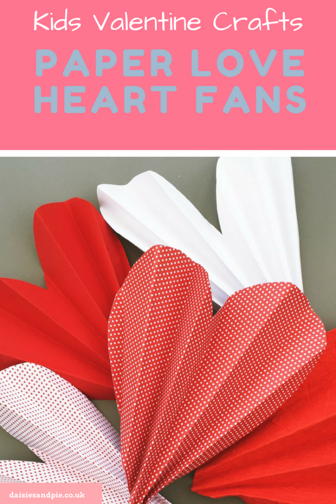 "pink, red and white paper love heart fans. Text ""kids valentines crafts - paper love heart fans"""