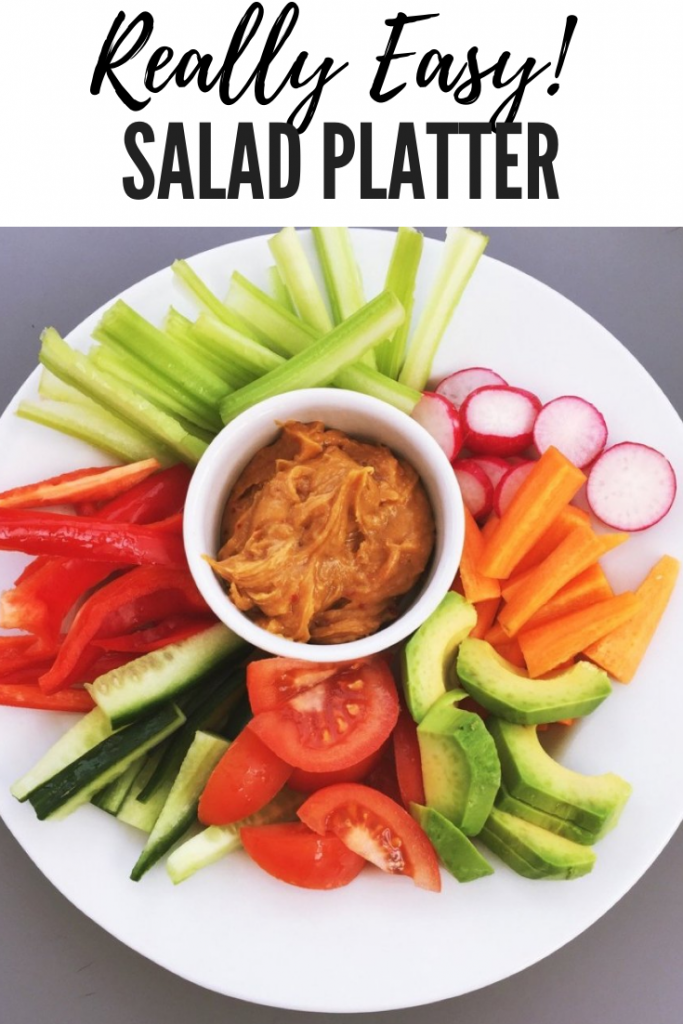 Crunchy salad platter with delicious peanut satay dipping sauce, easy healthy dinner recipes. text overlay reads 'really easy! salad platter'