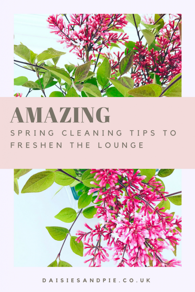 "Vase of beautiful bright pinky purple lilac flowers. Text overlay saying ""amazing spring cleaning tips to freshen the lounge"""