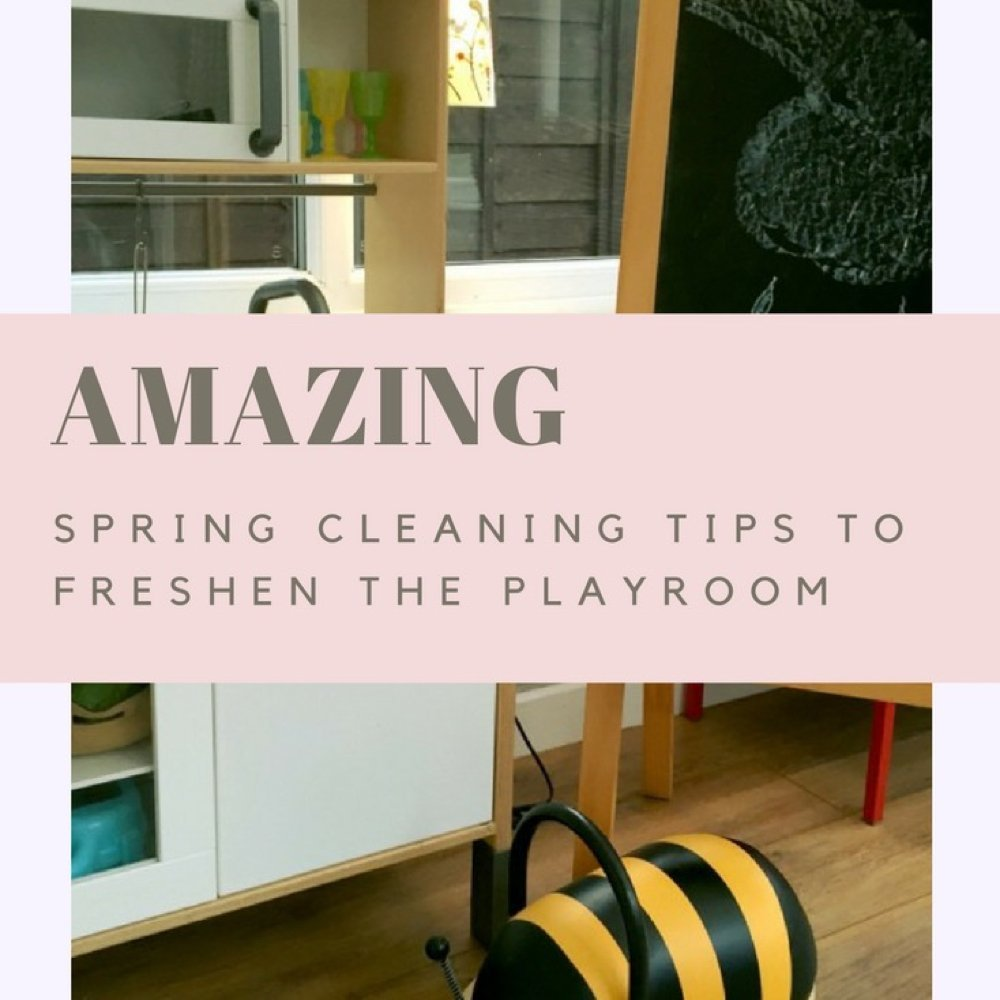 """Conservatory with IKEA toy kitchen, bee bug ride on toy and IKEA blackboard. Text overlay saying """"amazing spring cleaning tips to freshen the playroom"""""""