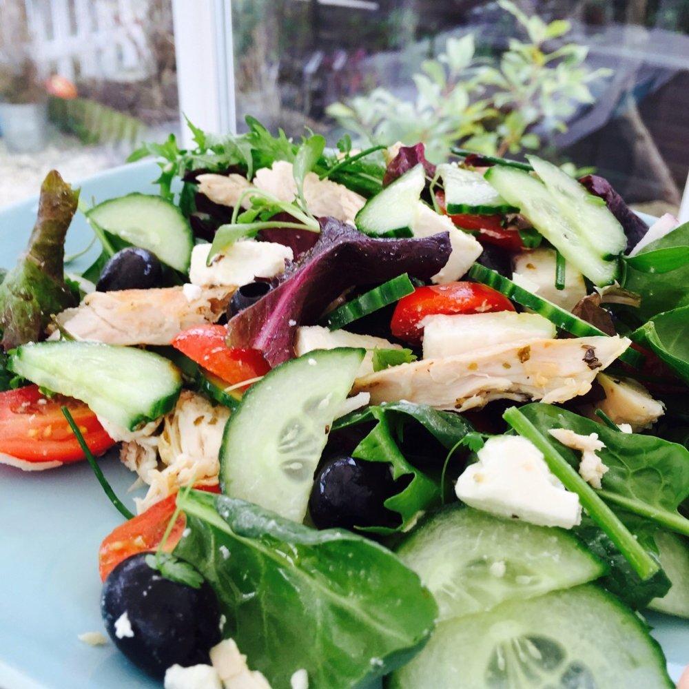 platter of Greek chicken salad