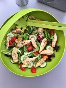 grilled chicken salad, simple chicken recipe, summer chicken recipe, easy midweek meal, easy family food from daisies and pie