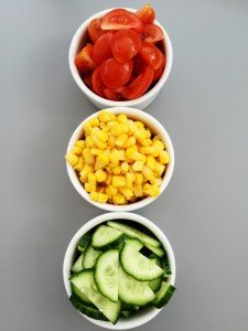 Traffic light salad for kids, kids salad recipe, getting kids to eat veggies, easy family food from daisies and pie