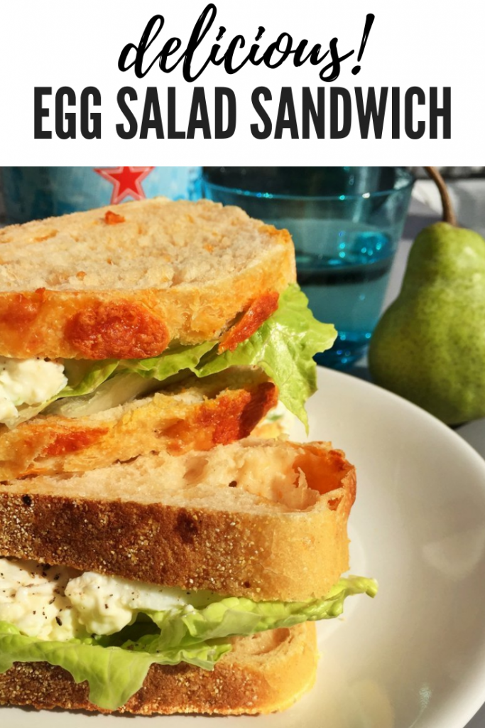 egg salad recipe, egg mayo sandwich recipe, how to make egg mayo, easy family food from daisies and pie. text overlay reads 'delicious! egg salad sandwich'