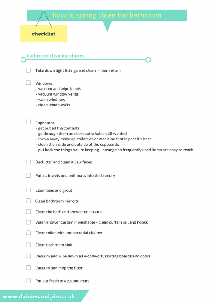 How to spring clean the bathroom, printable cleaning checklists, homemaking tips