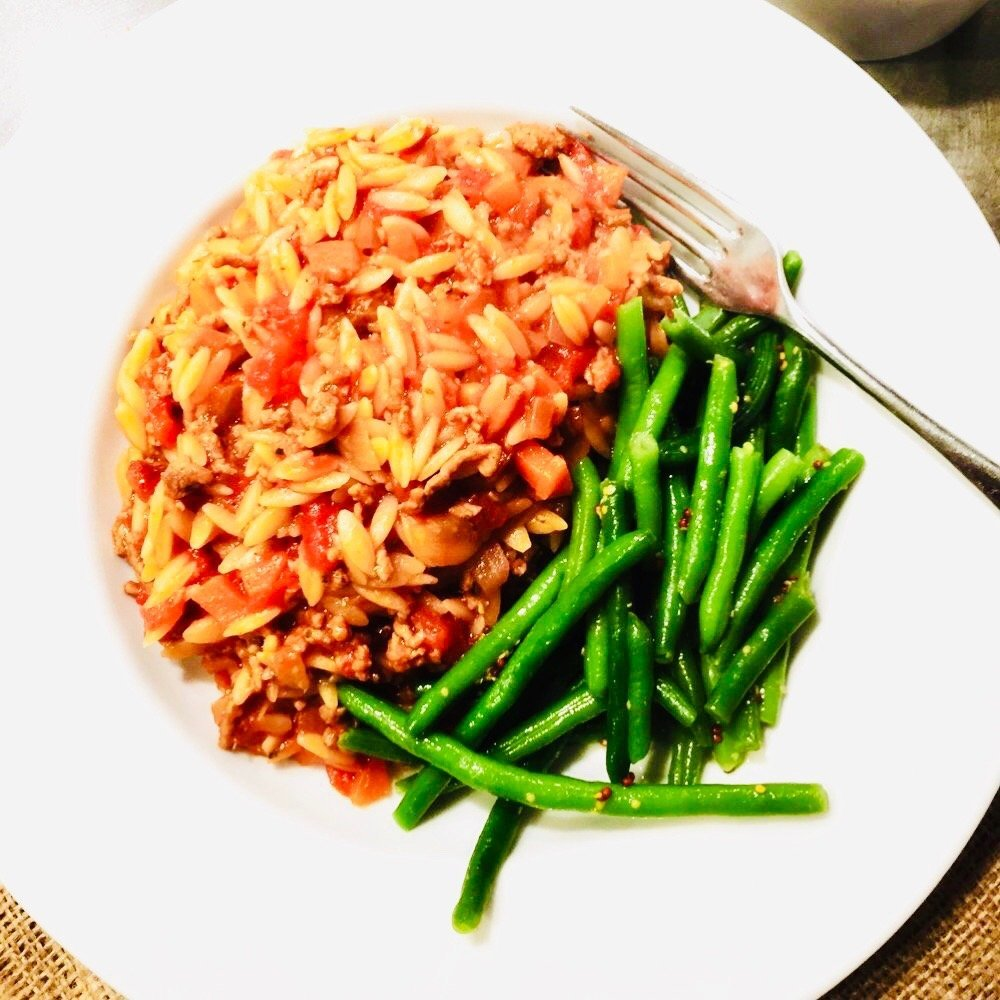 one pot orzo beef bolognese served with green beans