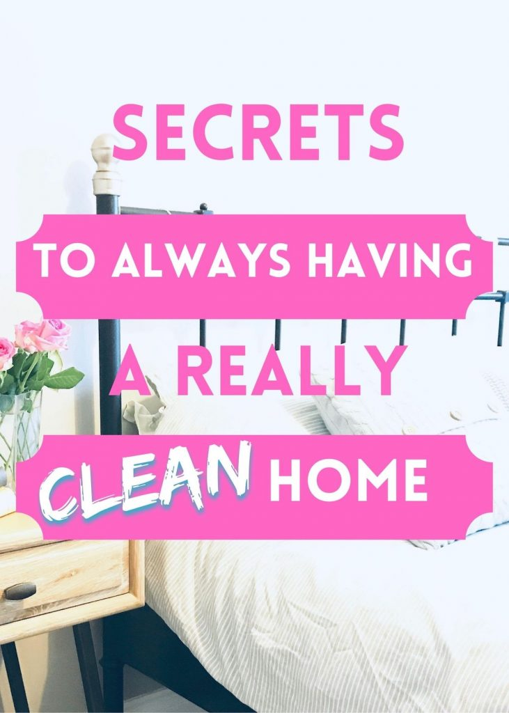 """clean bedroom - text overlay """"secrets to always having a really clean home"""""""