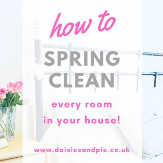 spring cleaning checklist - how to spring clean every room - text overlay on an image of a clean white bedroom