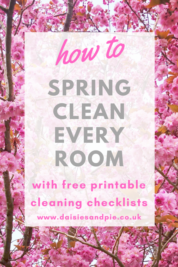 spring cleaning checklist - how to spring clean every room - text overlay on an image of pink blossom