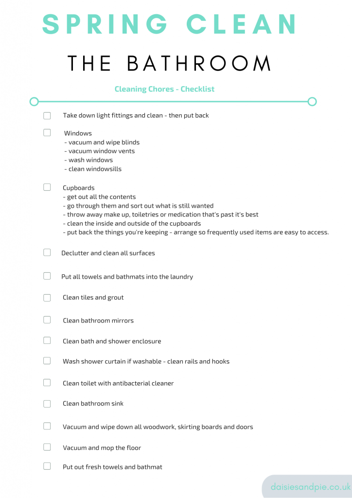 printable cleaning checklist with spring cleaning chores for bathroom