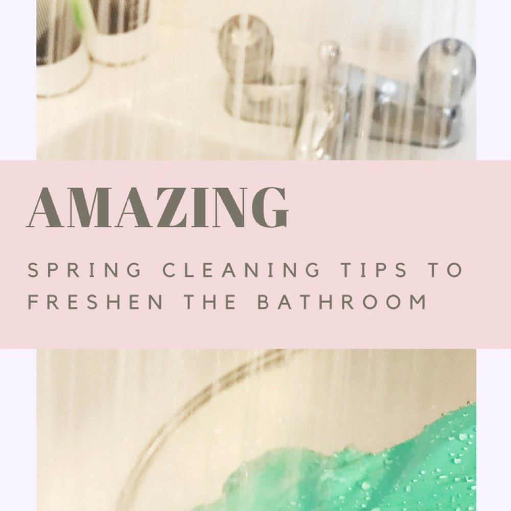 "white bath with silver taps and shower spraying into the bath, bottle of shampoo and conditioner on the side of the bath - hand in green Marigolds cleaning the bath. Text overlay saying ""Amazing spring cleaning tips to freshen the bathroom"""