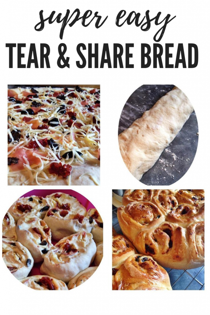 """instructions for making tear and share bread. Text overlay """"super easy tear and share bread"""""""