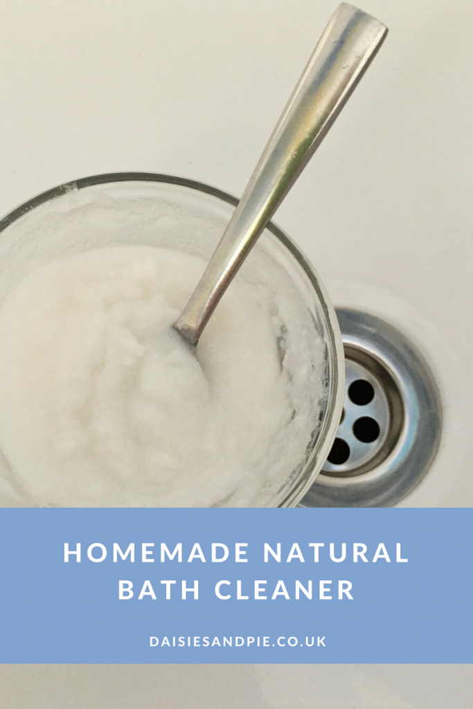 Homemade natural bath cleaner with essential oils, green cleaning tips