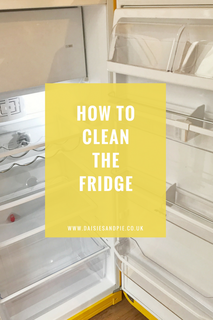 """inside of a Smeg fridge. Text overlay saying """"how to clean the fridge"""""""