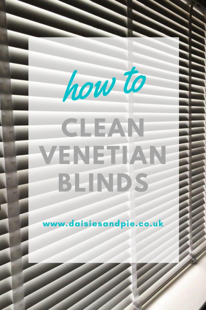 "white wooden venetian blind. Get overlay ""how to clean venetian blinds - www.daisiesandpie.co.uk"""