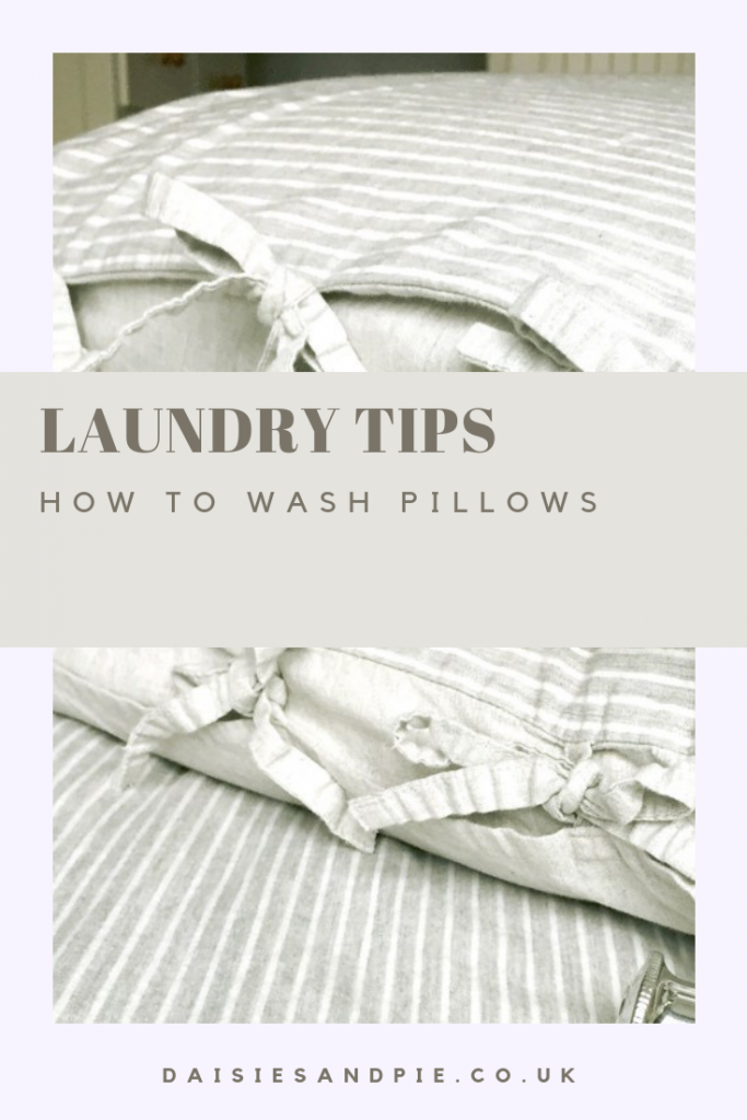 "freshly laundered pillows. Text overlay ""laundry tips - how to wash pillows"""