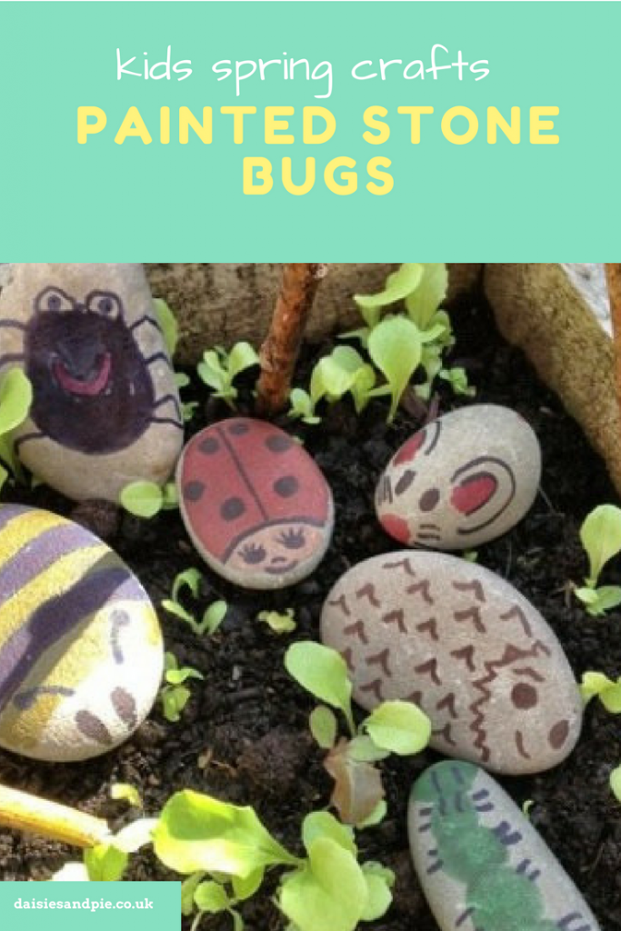 "box of seedlings decorated with child painted pebble bugs - painted as a bee, spider, ladybird, caterpillar, hedgehog and mouse. Text overlay saying ""kids spring crafts painted spring bugs"""