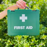 green first aid box being held up in front of a green bush