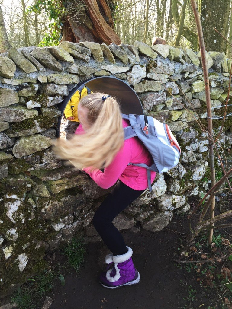 crawling tunnel, wild play trail, national trust 50 things, national trust play trails, days out for kids Lake District