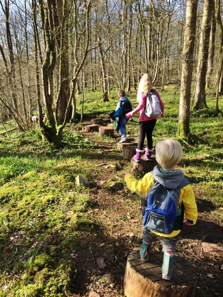wooden stepping stones, forest trail, wild play trail, national trust 50 things, days out with kids Lake District