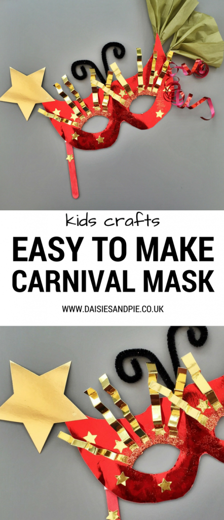 "two images of homemade carnival masks for mardi gras using red and gold card - glitter, metallic ribbons, stars and tissues paper. Text overlay ""kids crafts - easy to make carnival masks - www.daiseisandpie.co.uk"""