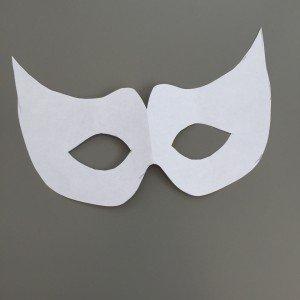 white cardboard template for carnival eye mask
