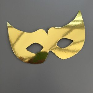 shiny gold cardboard carnival mask for eyes with no decorations