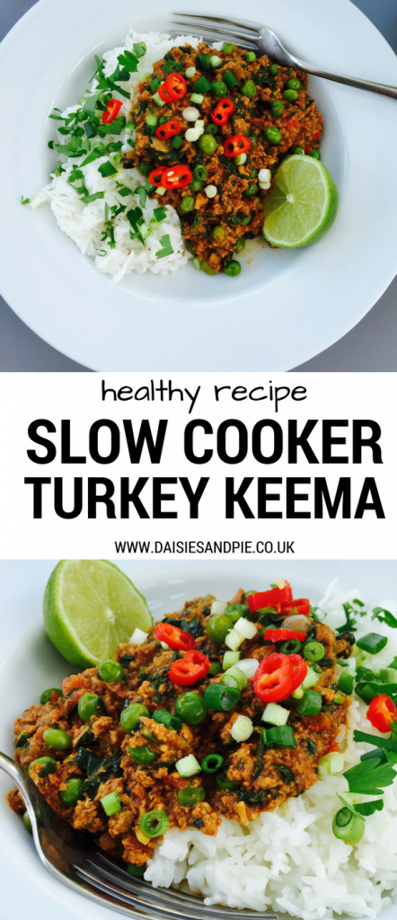 "Turkey keema curry with boiled rice garnished with red chillies, chopped coriander and lime wedge on white plate with silver fork. Overhead image and close up side image of the same curry. Text overlay says ""healthy recipe slow cooker turkey keema"""