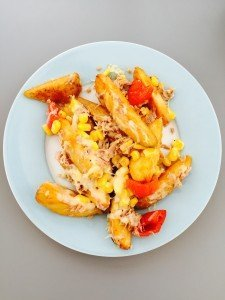 potato wedge melt, tuna and cheese melt, quick meals with tuna, easy family food from daisies and pie