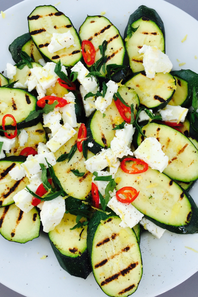 chargrilled courgette and feta salad with chilli and fresh herbs