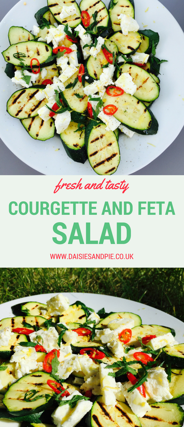 Courgette and feta salad, Mediterranean salad recipes, courgette recipes, easy side salads