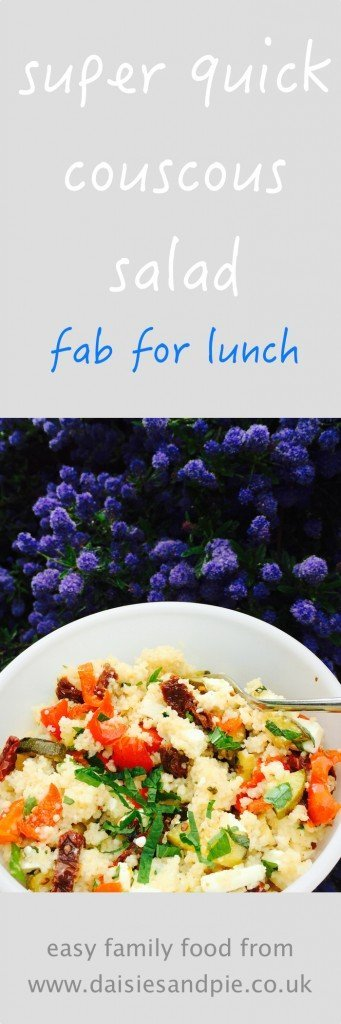 couscous salad recipe, vegetarian couscous recipe, feta and couscous salad, greek style couscous recipe, lunchbox recipe, easy family food from daisies and pie