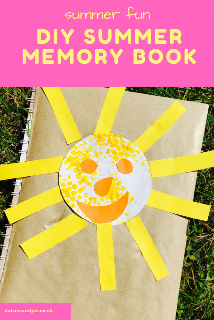 "DIY summer memory book. Text ""summer fun DIY summer memory book"""