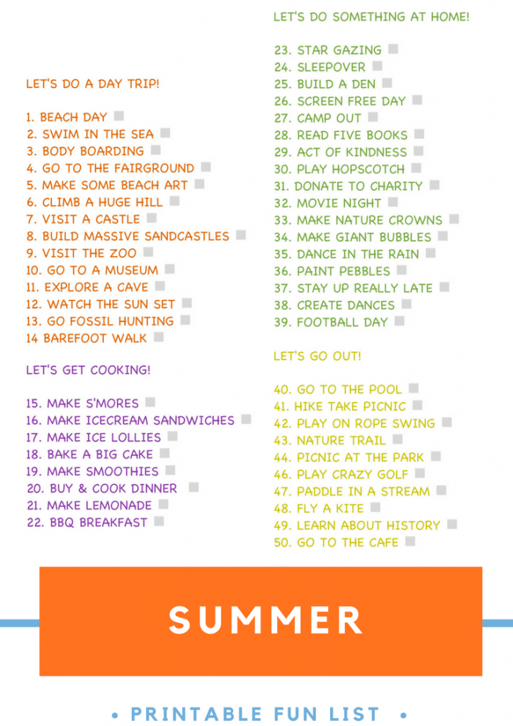 "printable summer fun list with 50 summer activities from day trips to baking and cooking, things to do at home and mini trips out. Text overlay saying ""summer fun list www.daisiesandpie.co.uk"""