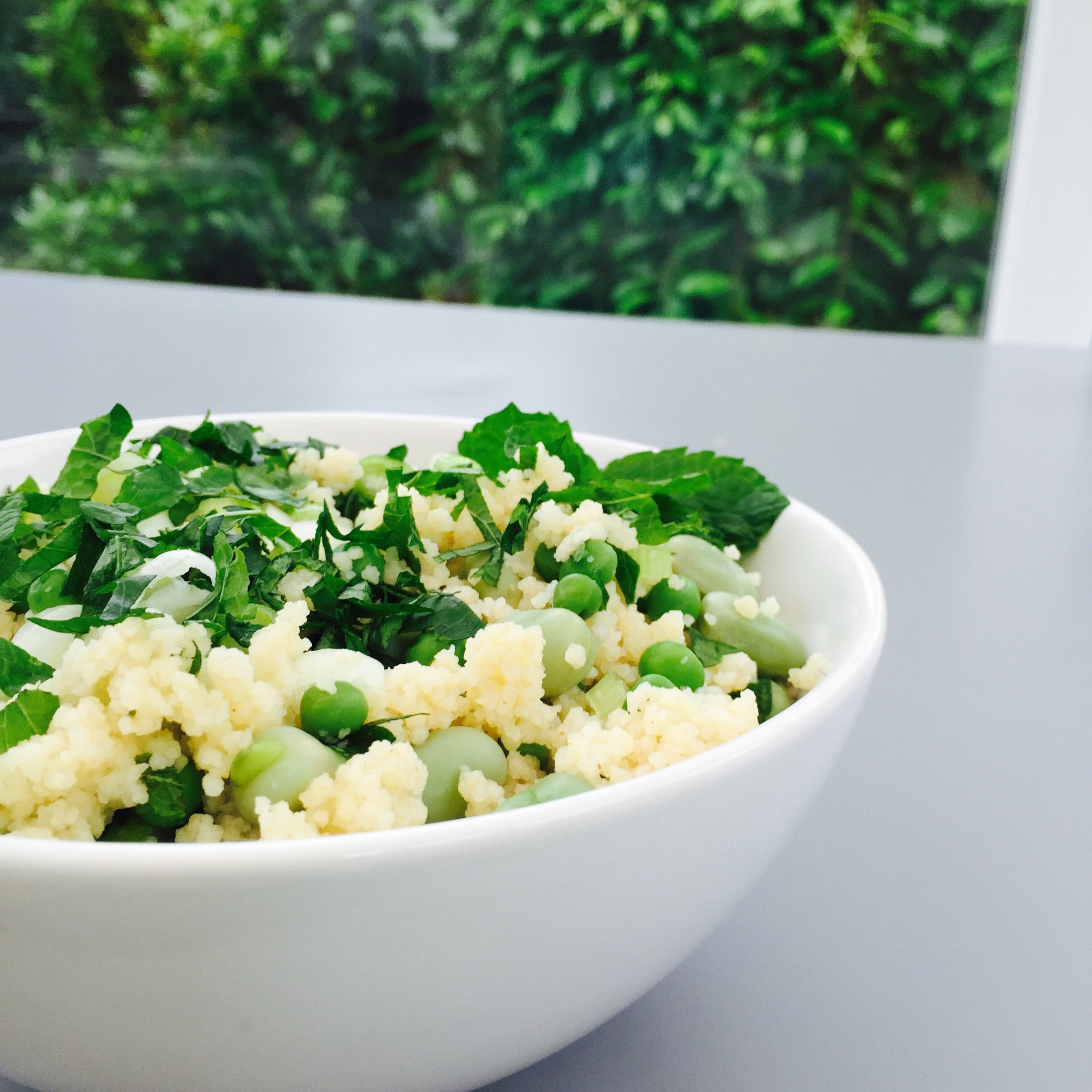 Lemony couscous with peas and beans