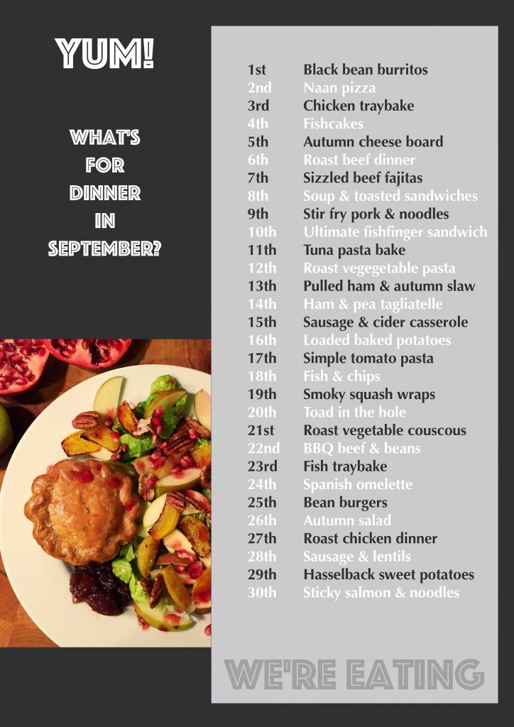 family meal plan, family meal planning, family dinner ideas, uk family food, family food blog, meal planning tips, meal plan template, in season september, easy family food from daisies and pie,