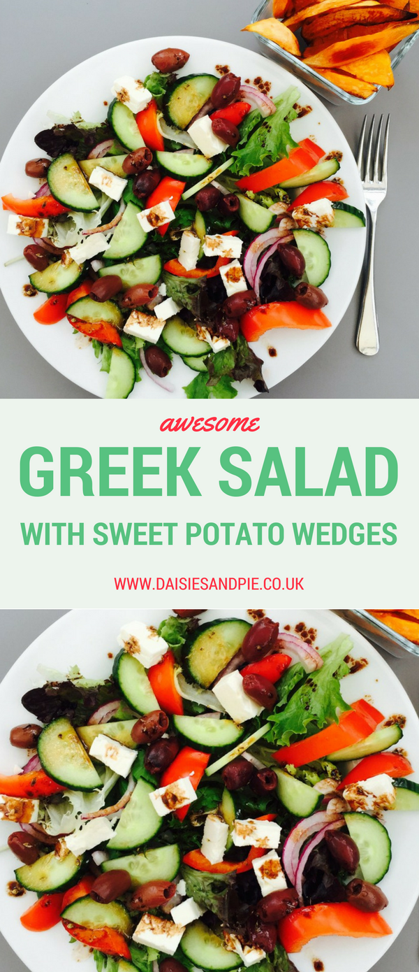 Greek salad with sweet potato wedges, healthy salad recipes, summer dinner recipes
