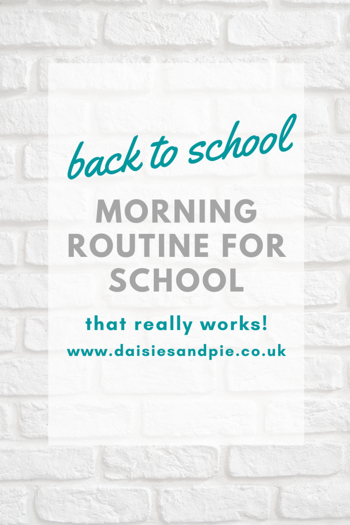 """white brick wall - text overlay """"back to school - morning routine for school that really works"""""""