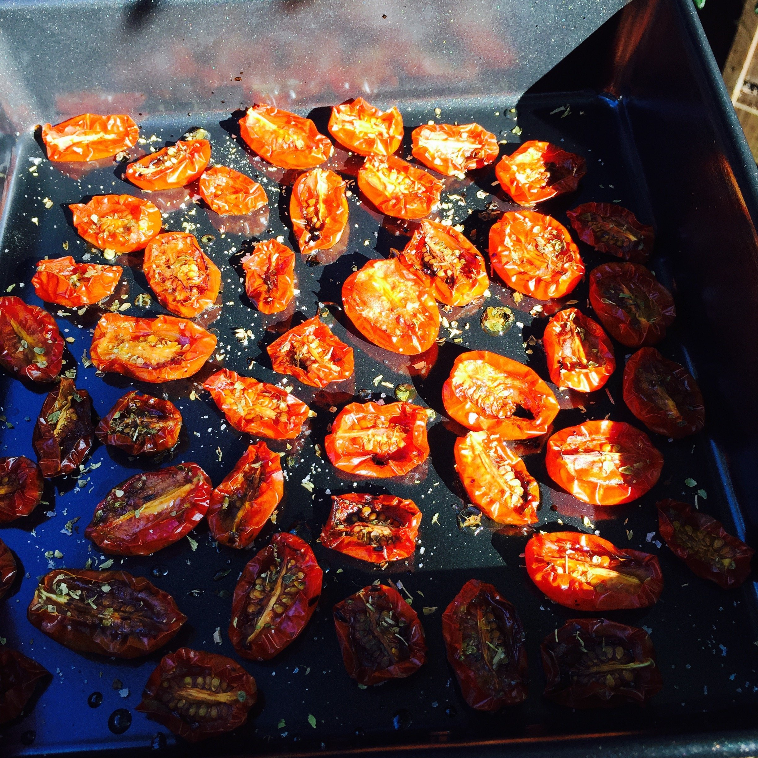 oven dried tomato recipe, how to make oven dried tomatoes, ways to use up a glut of tomatoes, easy family food from daisies and pie