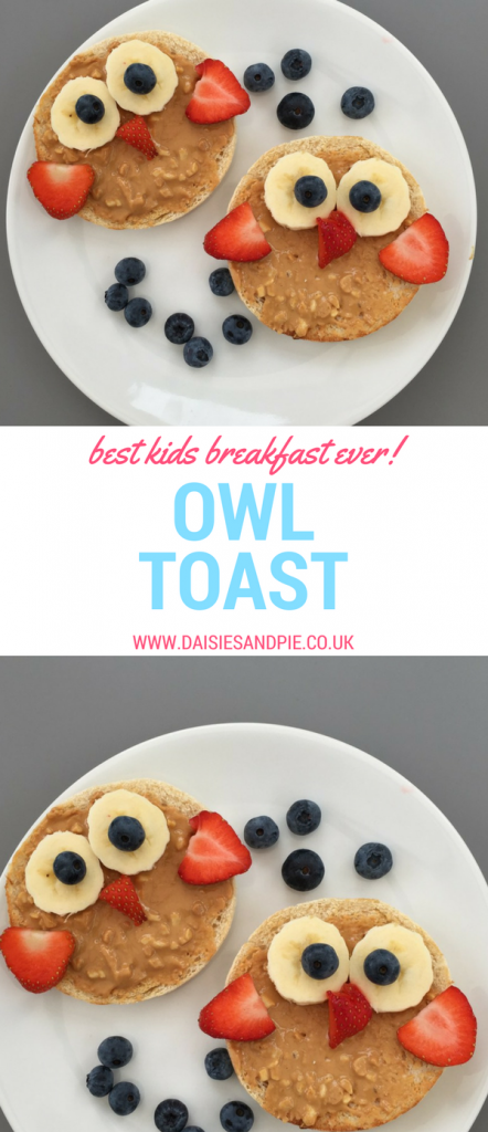"white plate with toasted muffins topped with sliced bananas, strawberries and blueberries to create an owl face. Text overlay saying ""best kids breakfast ever - owl toast"""