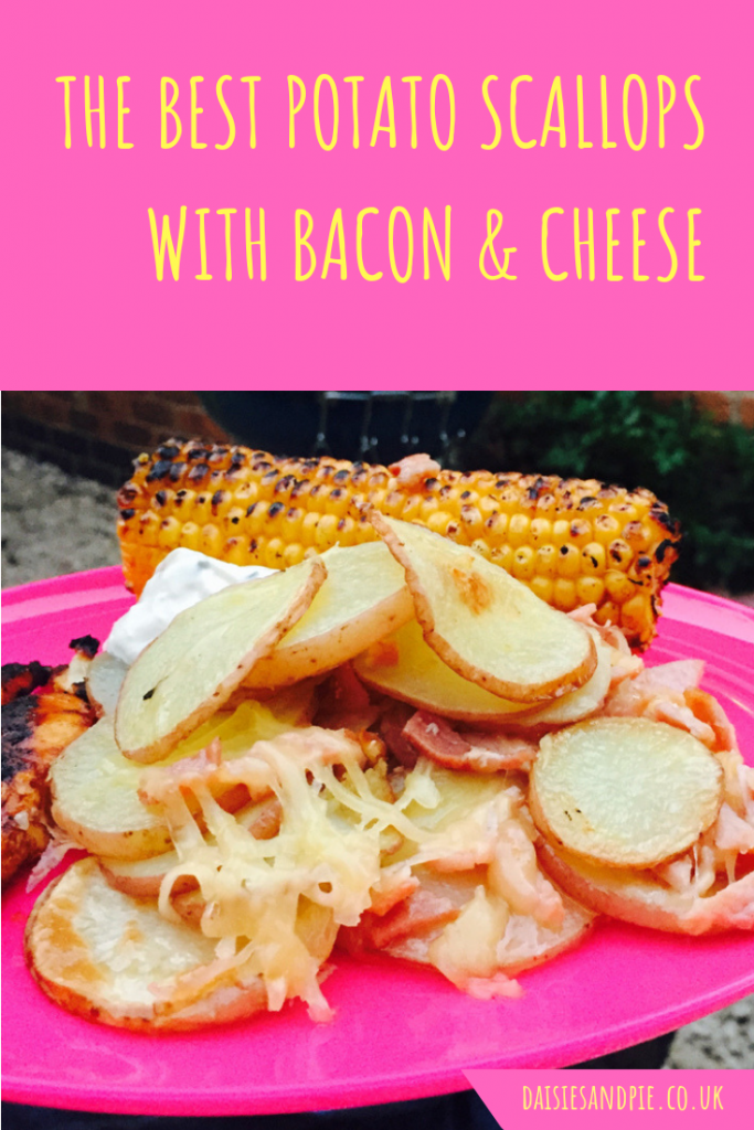 "potato scallops with bacon and cheese served with BBQ corn and chicken kebabs. Text overlay saying ""the best potato scallops with bacon and cheese"""