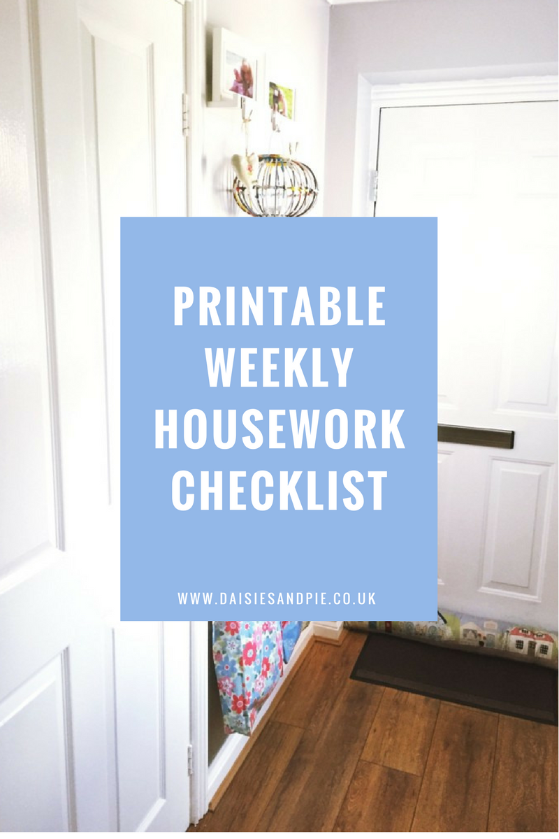 Printable weekly housework checklist, cleaning tips, home organisation tips, homemaking tips