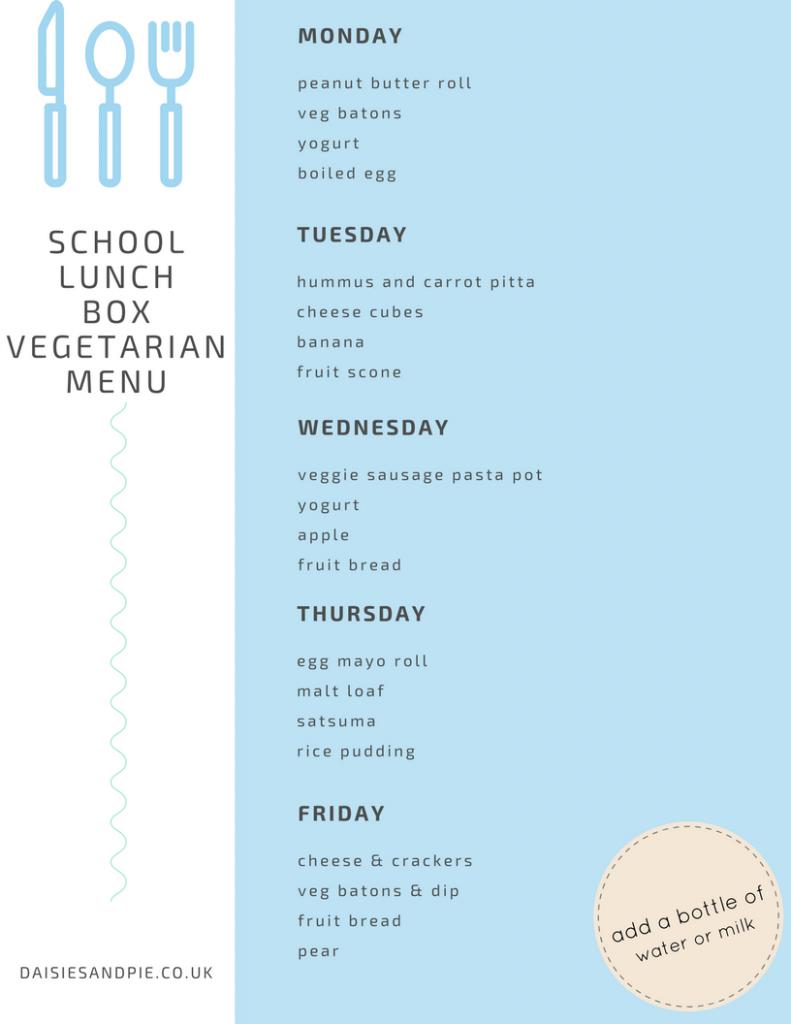 Healthy vegetarian school lunch box menu planner, healthy vegetarian lunch ideas for kids, easy back to school lunch menu