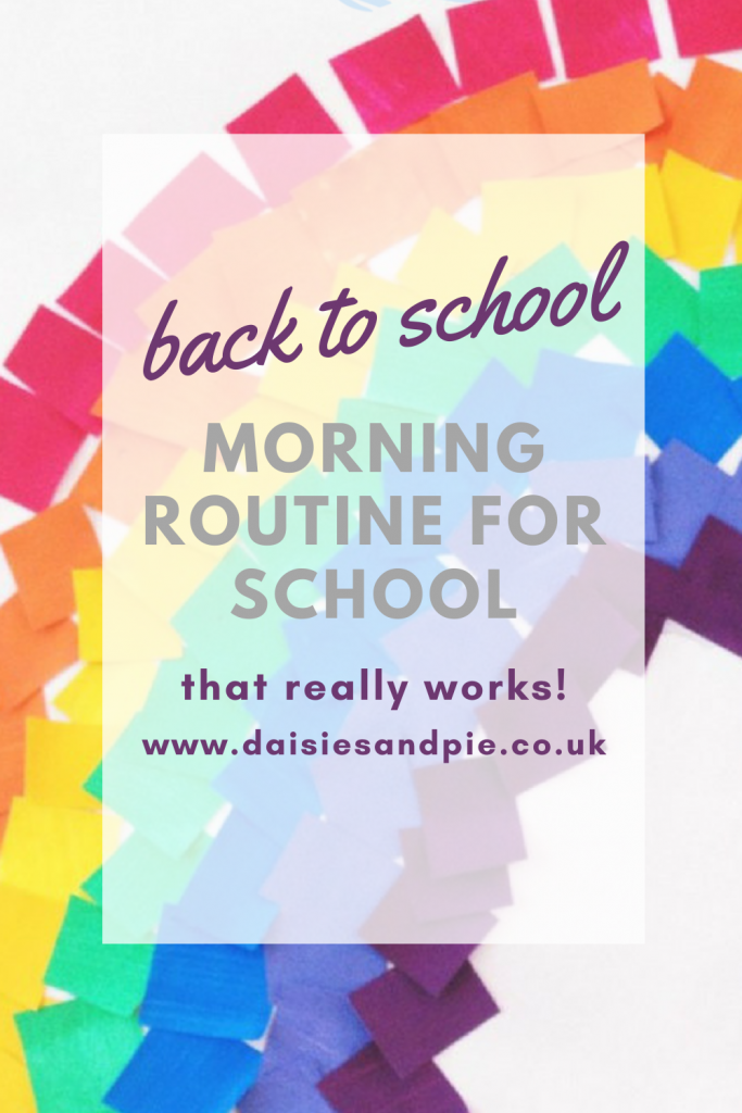 """mosaic rainbow picture- text overlay """"back to school - morning routine for school that really works"""""""