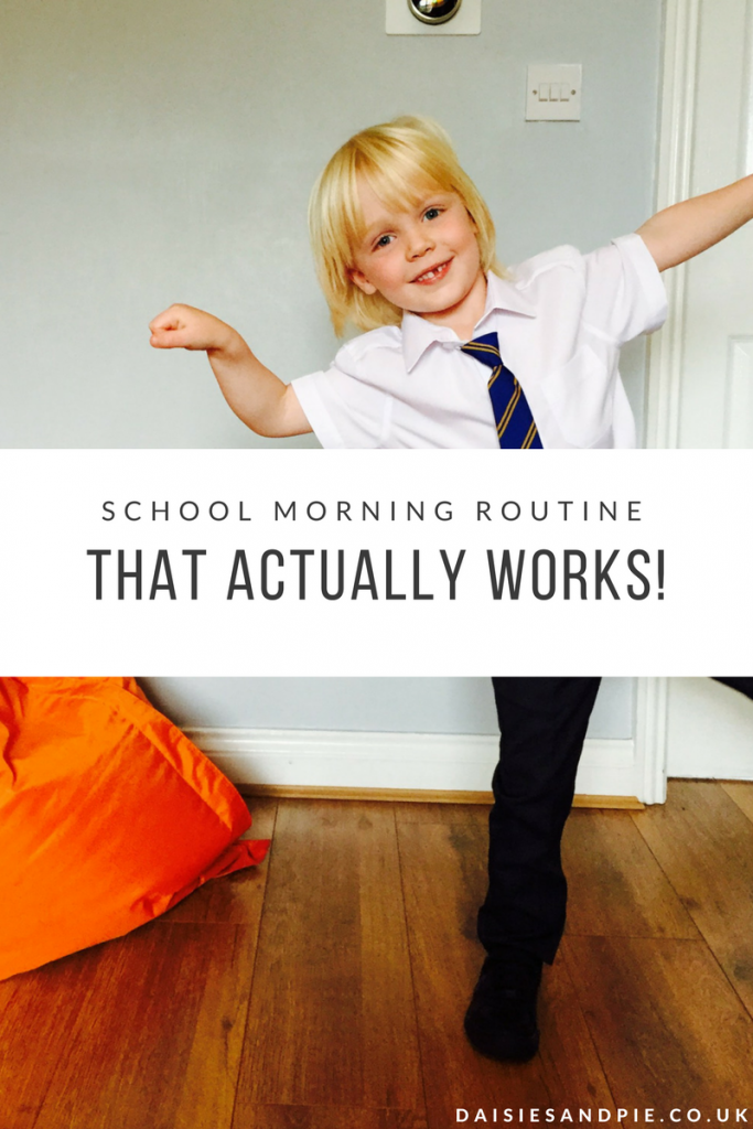 "small boy in school uniform cheering. Text overlay saying ""school morning routines that actually work"""