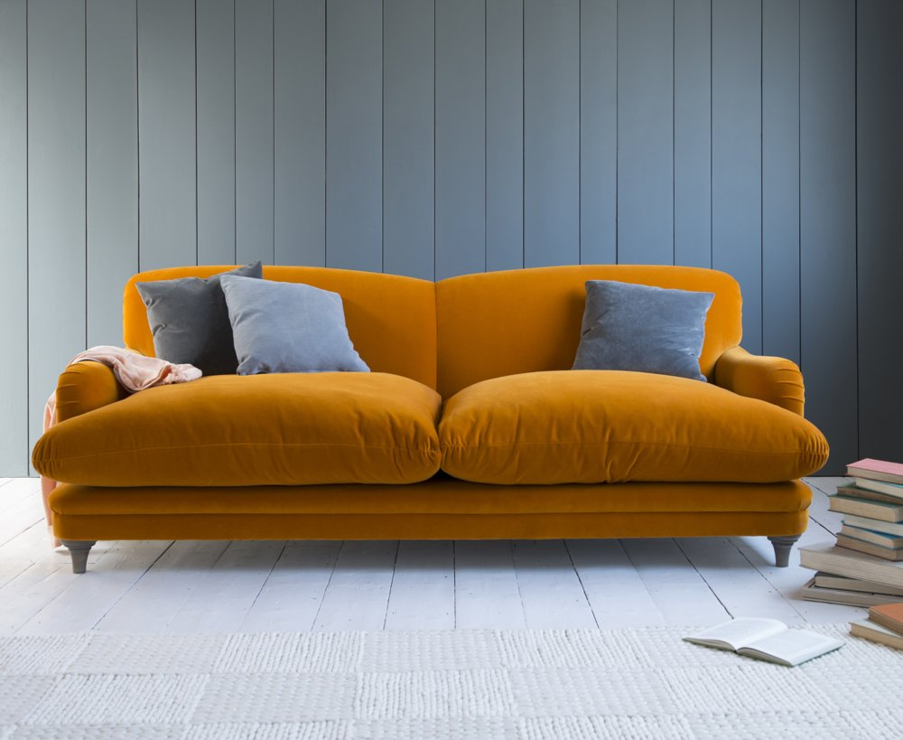 Loaf pudding sofa, loaf sofas, squishy sofas, burnt orange sofa, home from daisies and pie