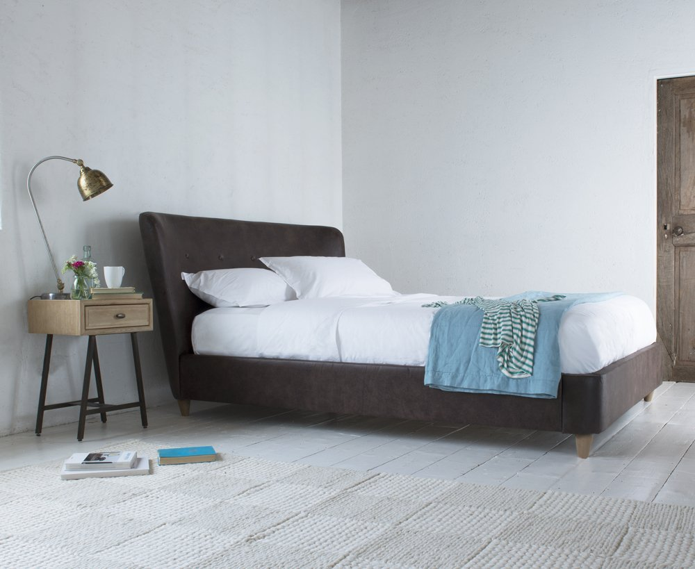 loaf smoke bed, dark chocolate leather bed, leather bed, homestyle from daisies and pie